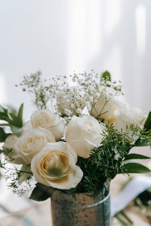 Bouquet of fresh white roses in metal bucket