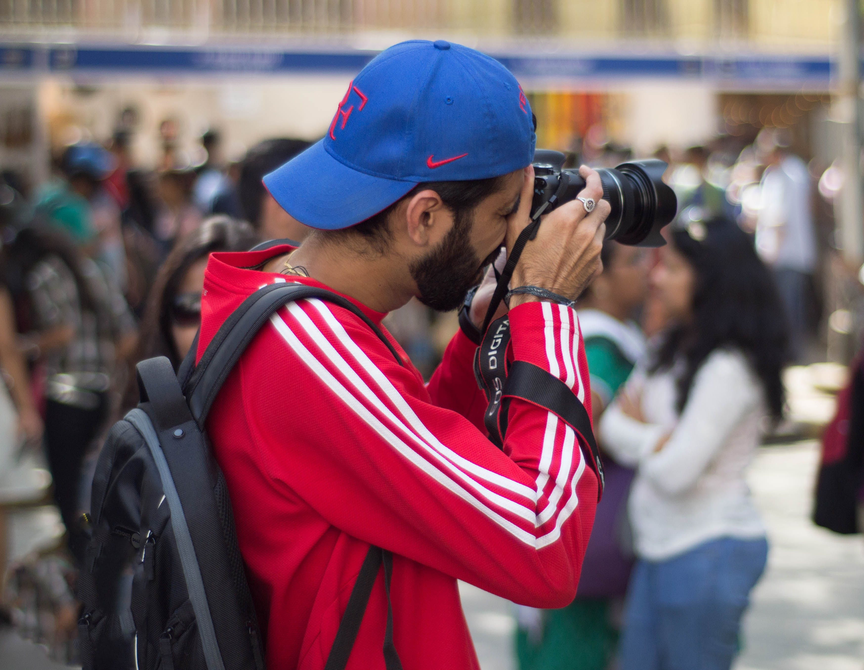 Free stock photo of red, camera, taking photo, blue