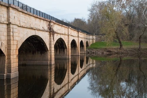 Free stock photo of aqueduct, C&O Canal, water reflection