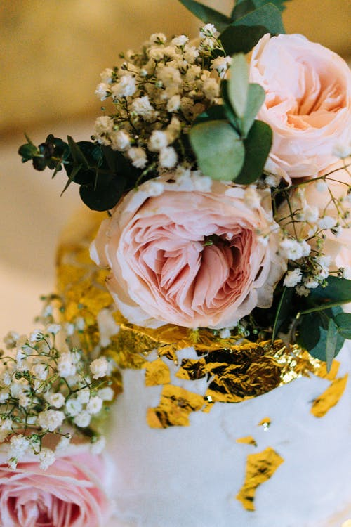 Pink Rose and White Babys Breath Flowers Bouquet