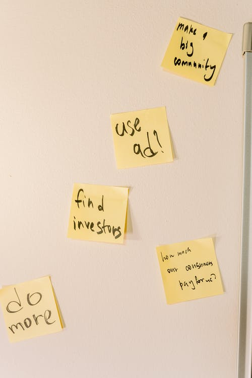 Sticky notes on the White Wall