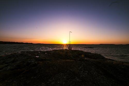 Free stock photo of rocks, sea, sunset