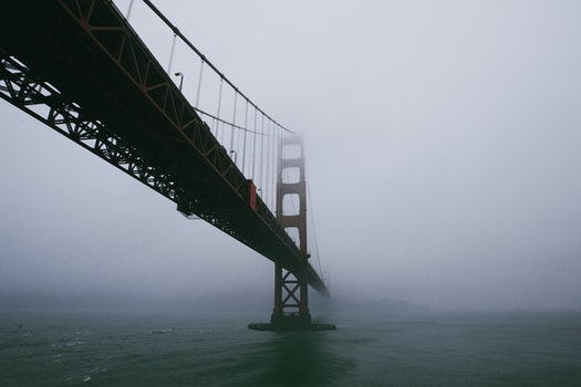 Free stock photo of bridge, fog, haze, river