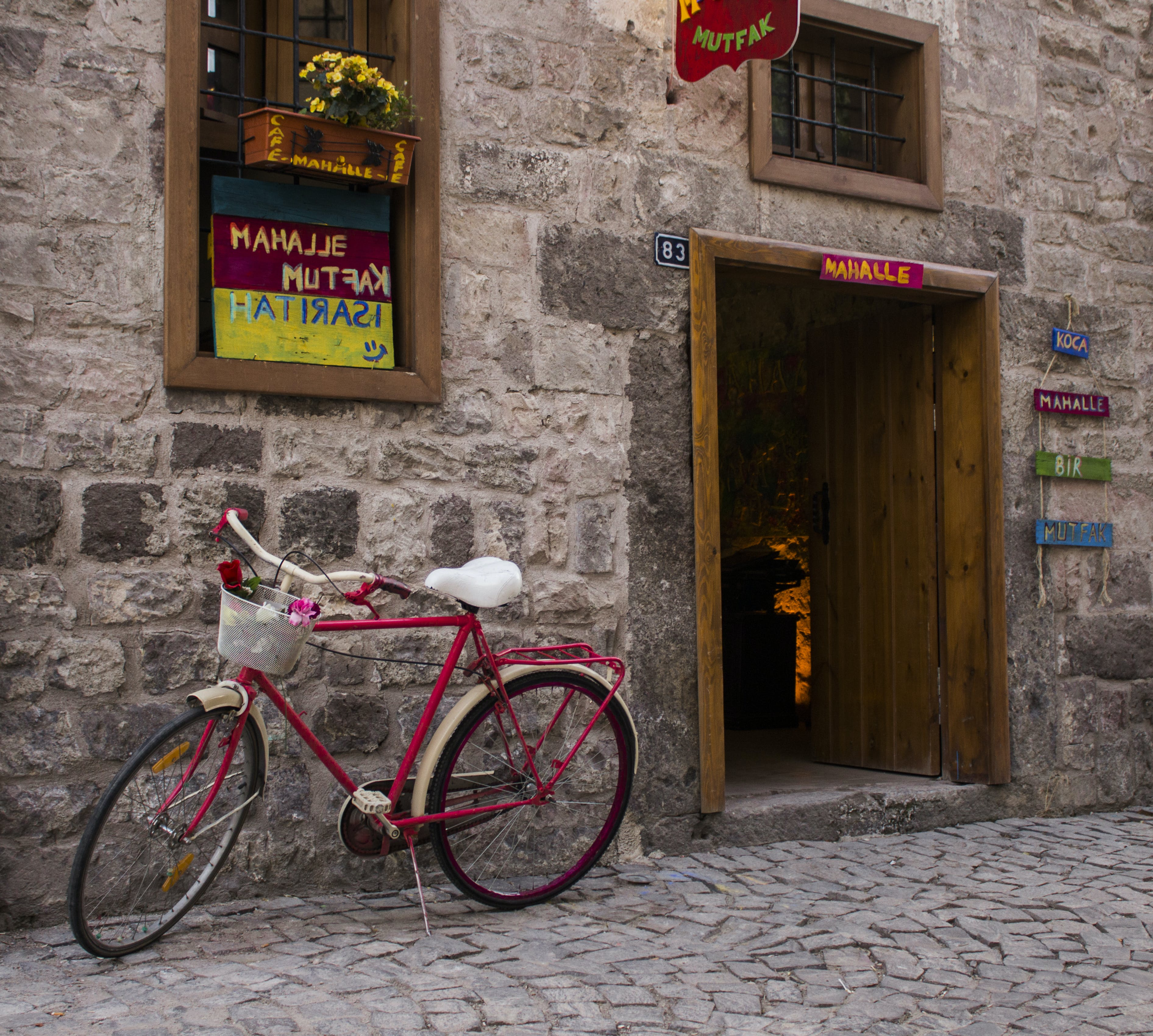 Free stock photo of bicycle, café, Historic Building, Pink bicycle