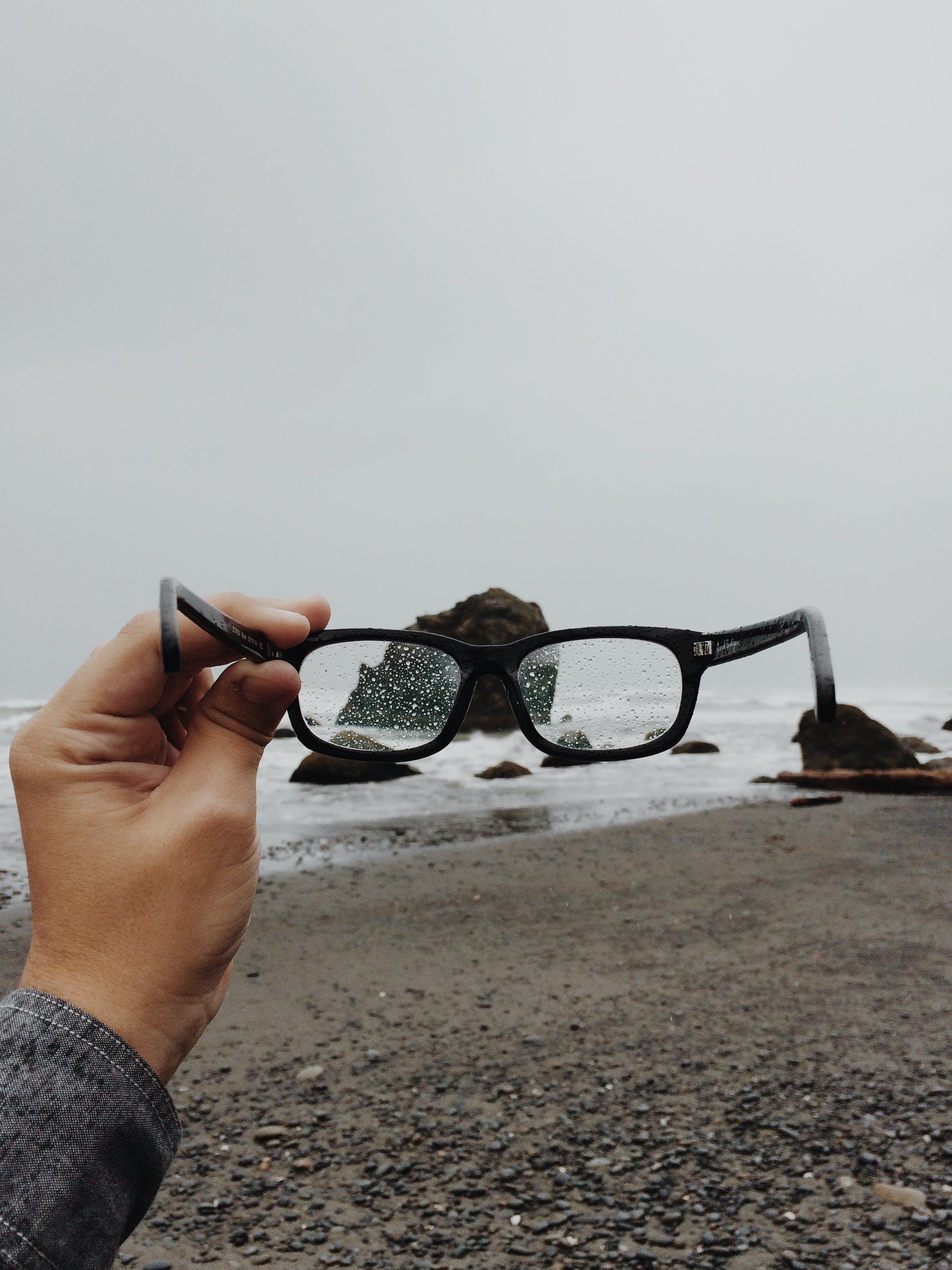 glasses, hipster, rain