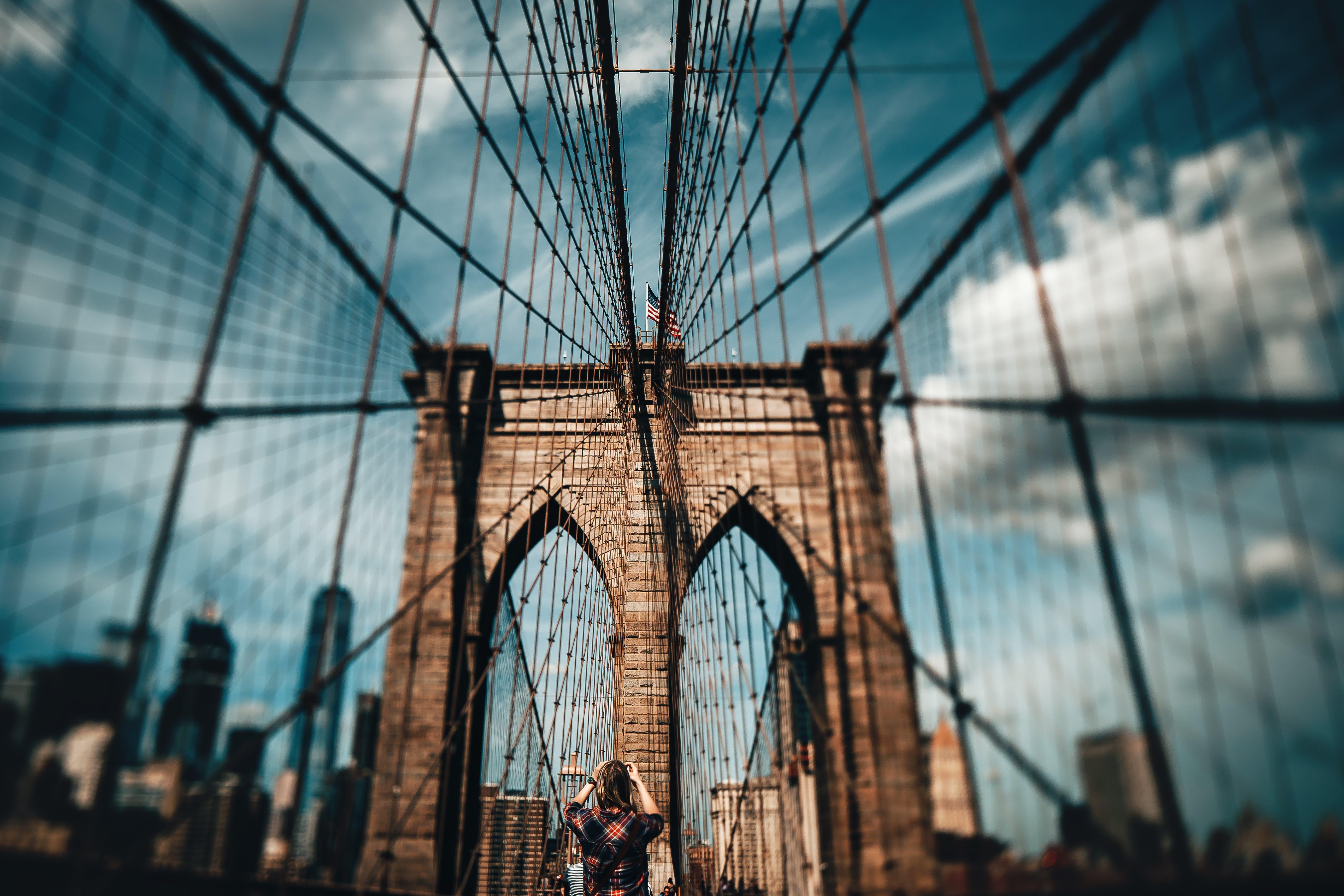 Blur Photo of Brooklyn Bridge at Daytime