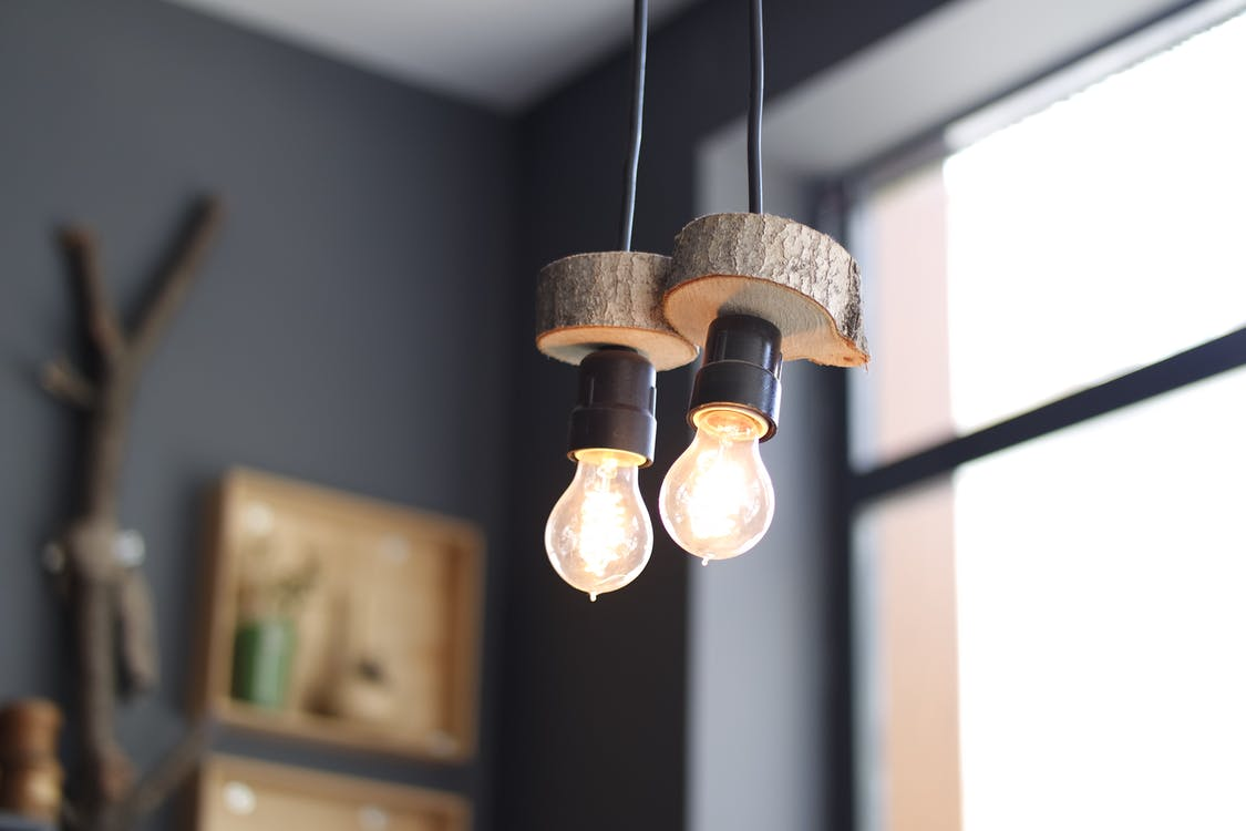 2 Turned on Hanging Lamps