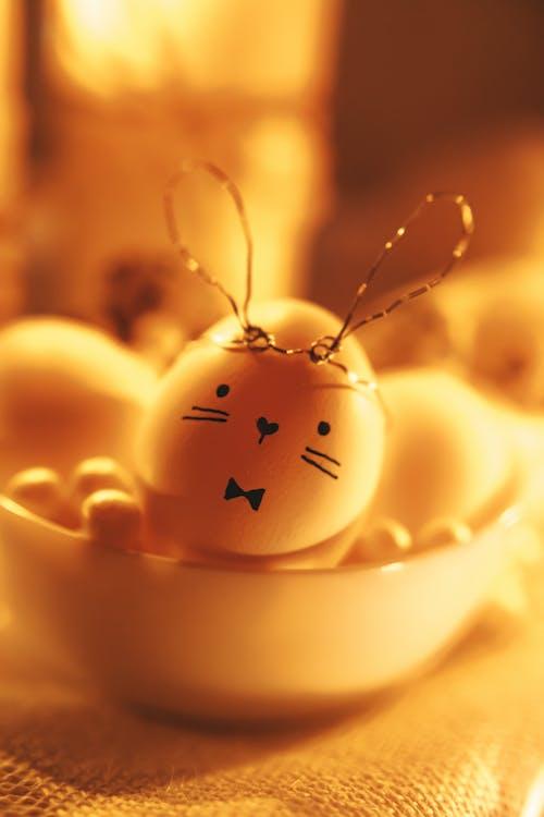 Golden Easter Bunny Egg In A Bowl