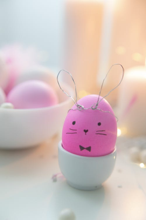 Pink Decorated Egg On A Ceramic Cup