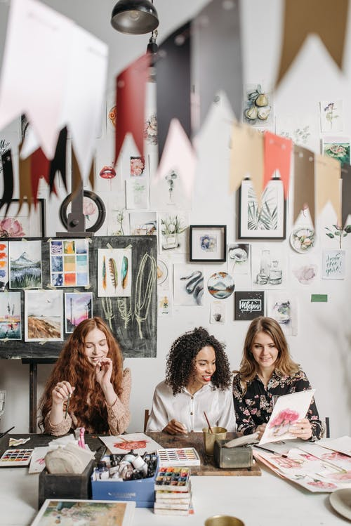3 Women in Painting Class