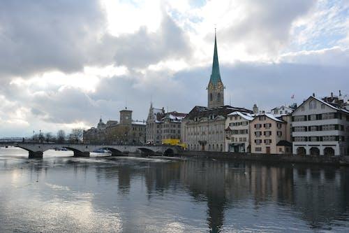 Free stock photo of bridge, buildings, city, switzerland