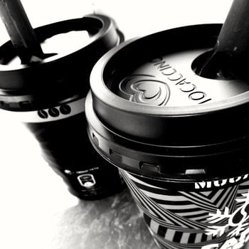 Monochrome Photo of Two Cups of Coffee