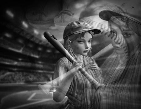 Free stock photo of baseball, black and white