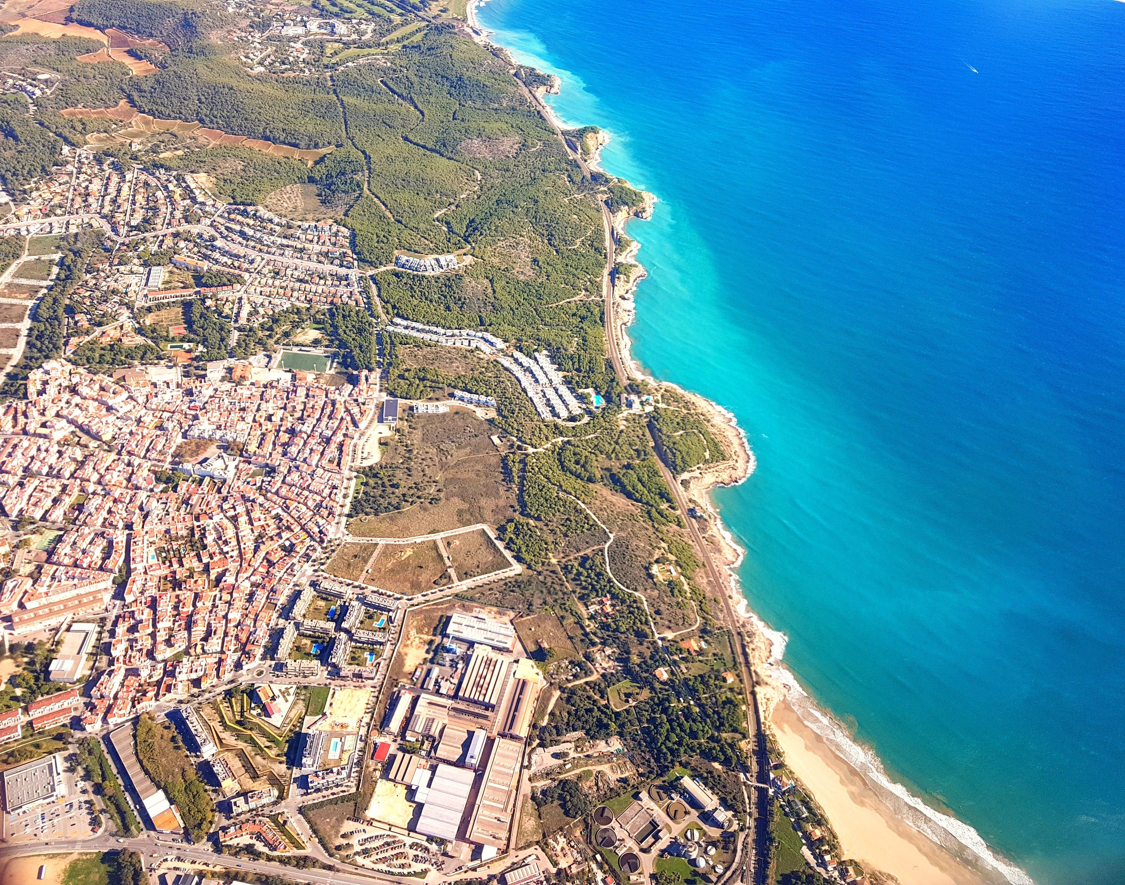 Free stock photo of aerial view, barcelona, beach, bird's eye view