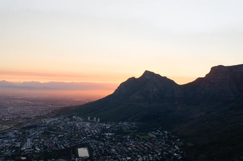 Aerial View of City Near Mountain