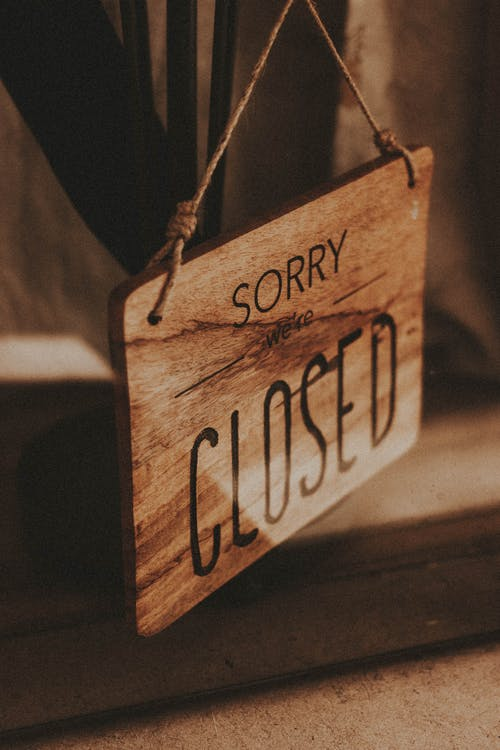 Sorry Closed wooden board at entrance