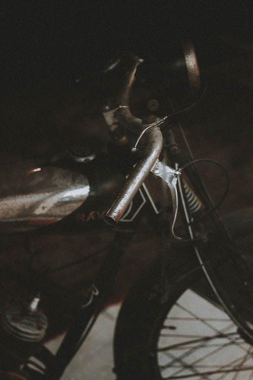 Handlebar of old metal moped