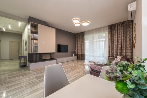 Interior of living room in studio apartment
