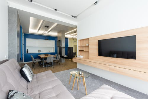 Spacious flat divided into kitchen and living room