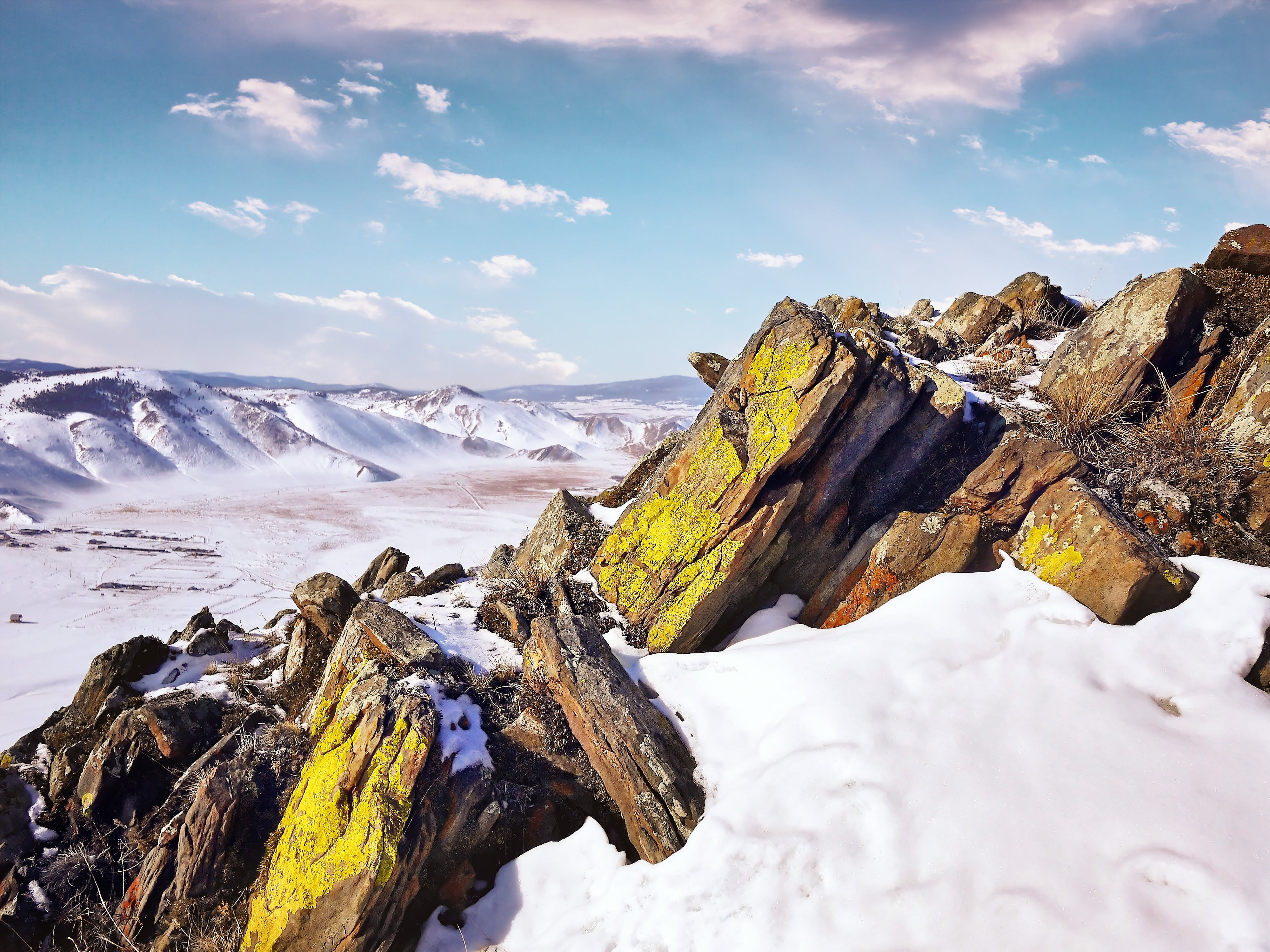 White and Brown Rocks On Snow Mountain