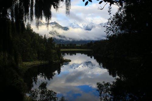 Free stock photo of lake matheson, mirror effect