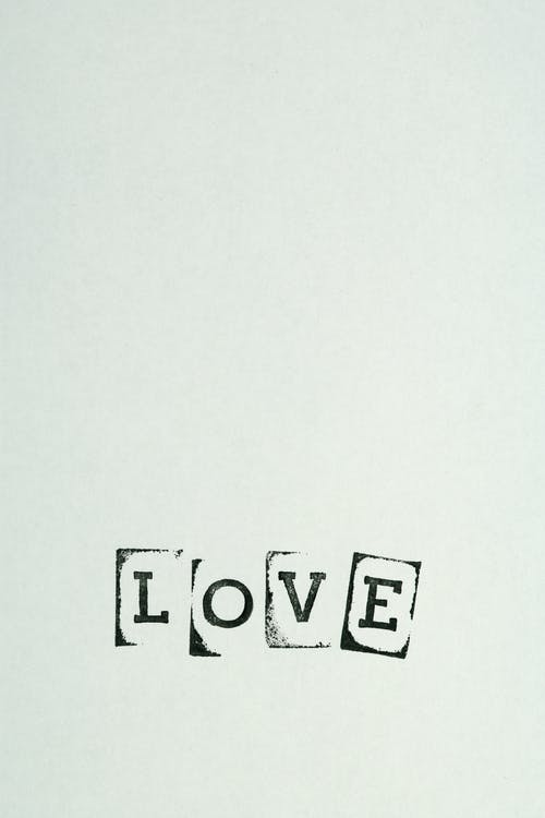 Love Text On White Background