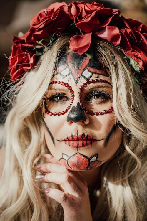Blonde Woman With Halloween Makeup