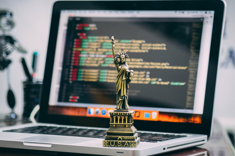 Statue of Liberty Miniature on Macbook Pro