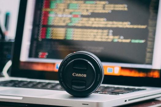 Free stock photo of laptop, macbook, lens, canon