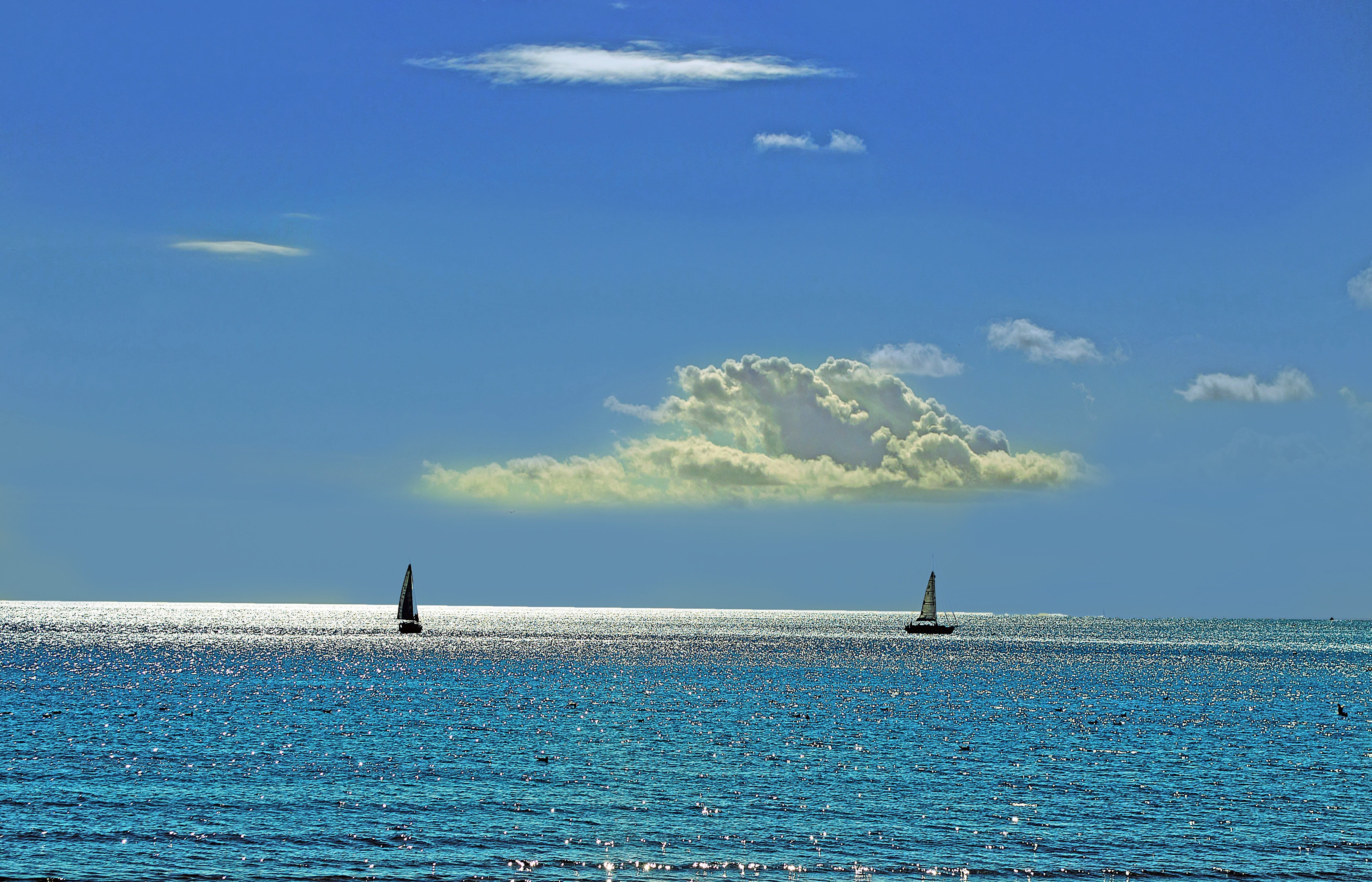 Ingyenes stockfotó csónakok, ég, HD-háttérkép, kék témában