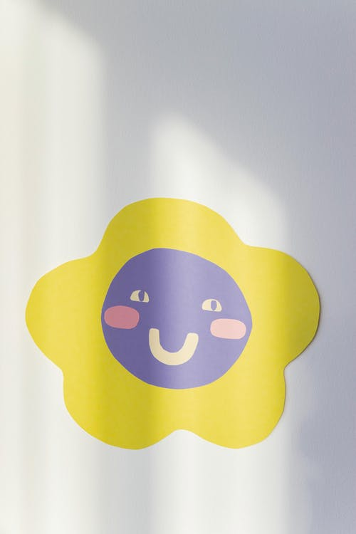 Yellow and White Smiley Sticker