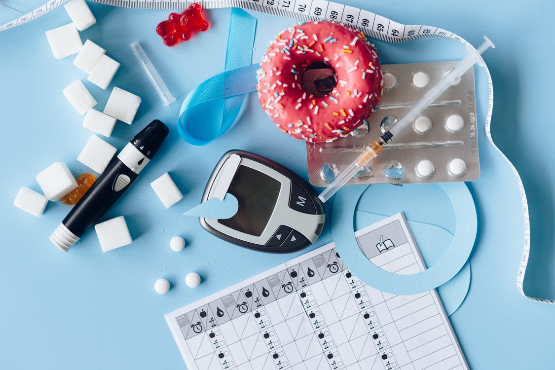 Blood Sugar Meter and Medication on the Blue Background