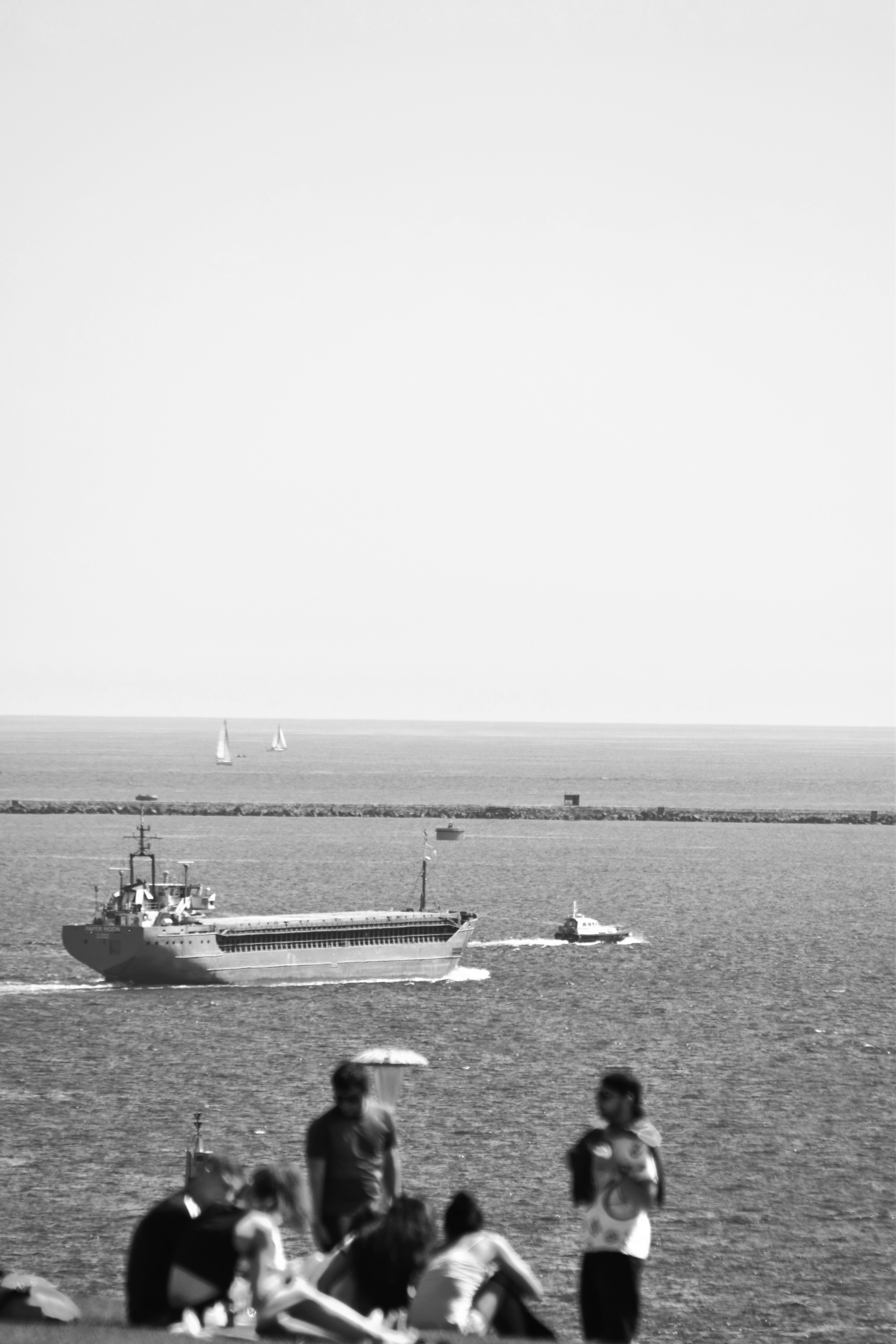 Free stock photo of bbq, cargo ship, sailing boat, waterfront