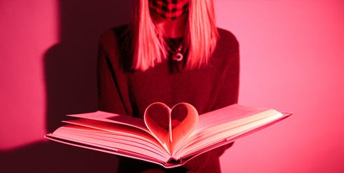 Free stock photo of book, girl, heart