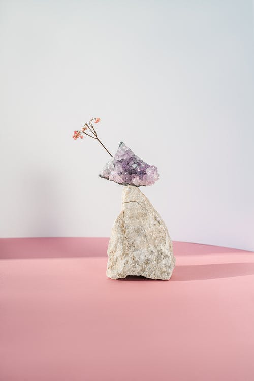 Gray Stone With Pink Flowers
