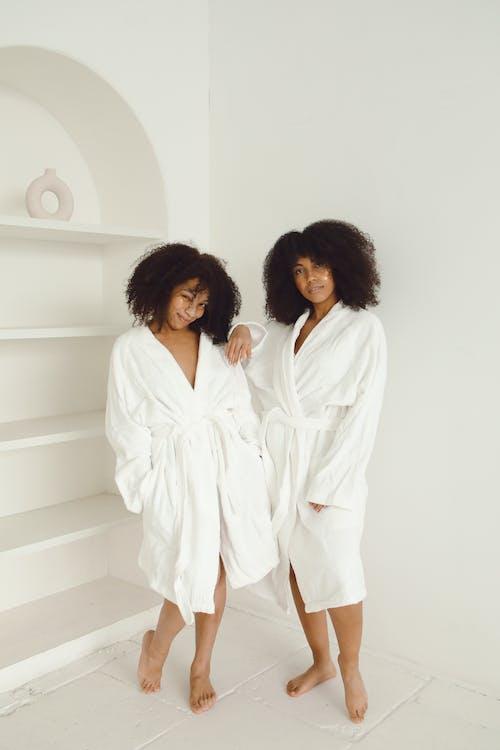 Women Posing in Their Bathrobes