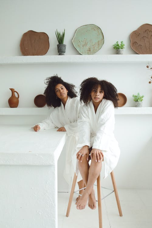 Sisters in Their Bathrobes