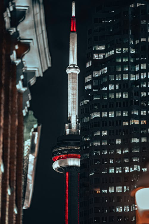 Red and Black Tower in the City