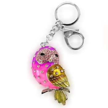 Pink Gold and Silver Owl With Diamond Accessory Clamp Hook