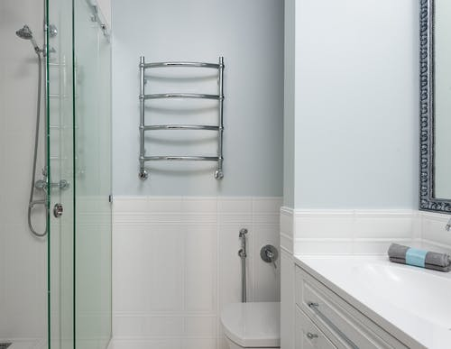 Stylish bathroom with shower cabin