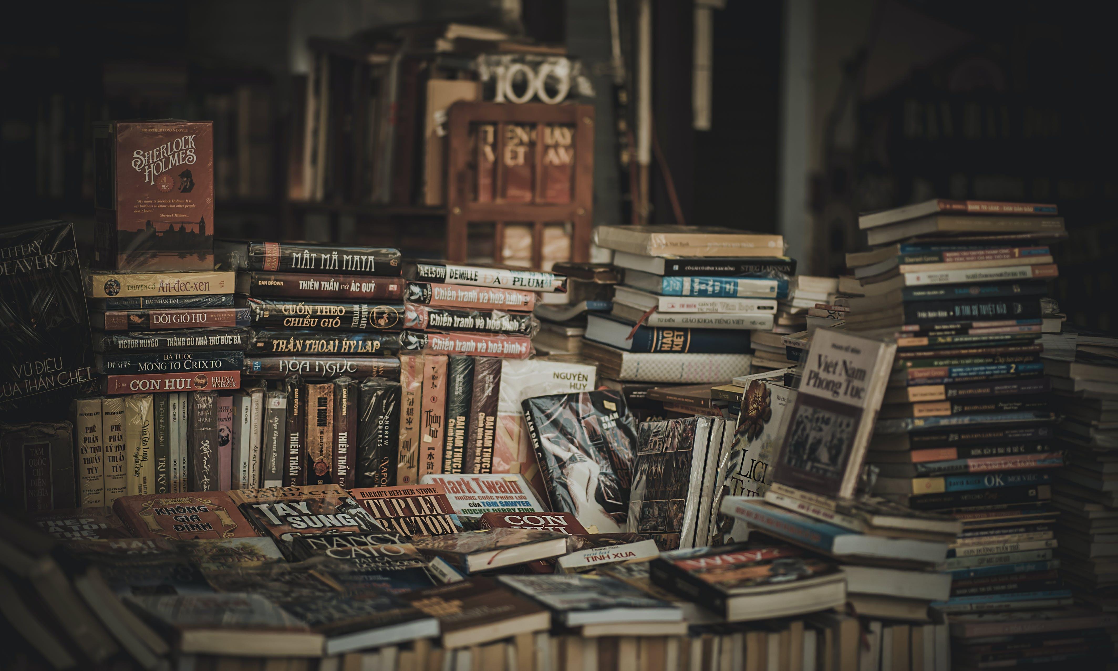 Kostenloses Stock Foto zu bibliothek, bucheinbände, bücher, drinnen