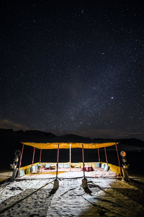 Private desert camping tent under starry sky
