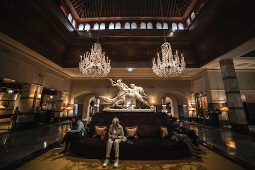 Spacious lobby interior of luxury hotel