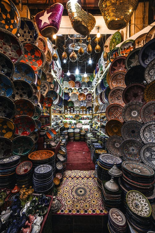 Oriental shop with traditional Eastern crockery