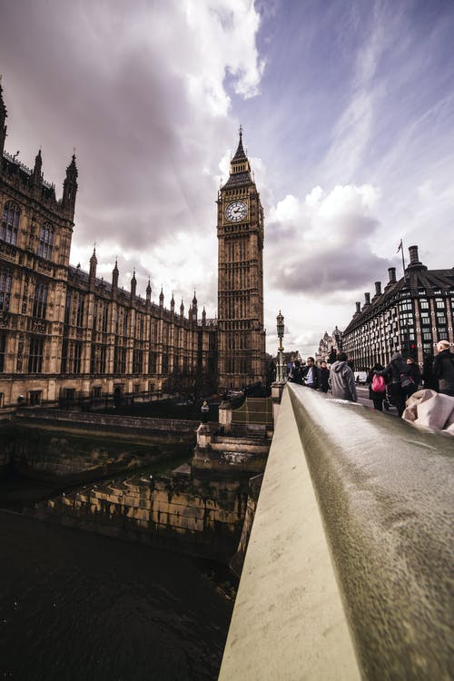 View from Westminster bridge to Big Ben clock tower and Houses of Parliament United Kingdom in London against cloudy sky on daytime