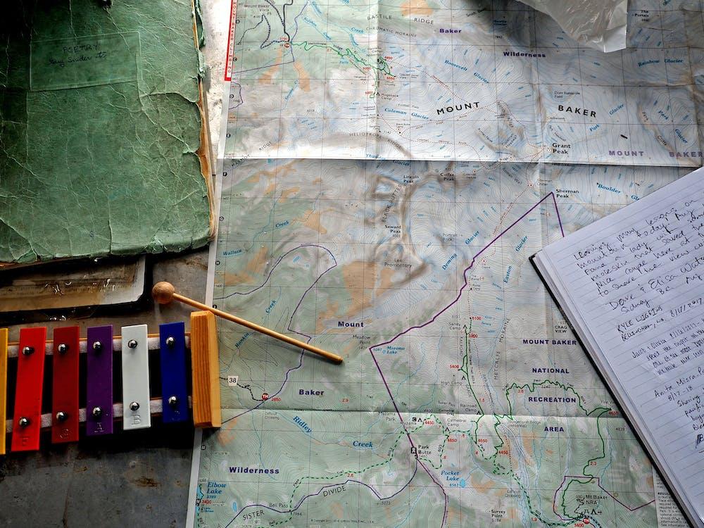 Karta, kontor, skrivbord