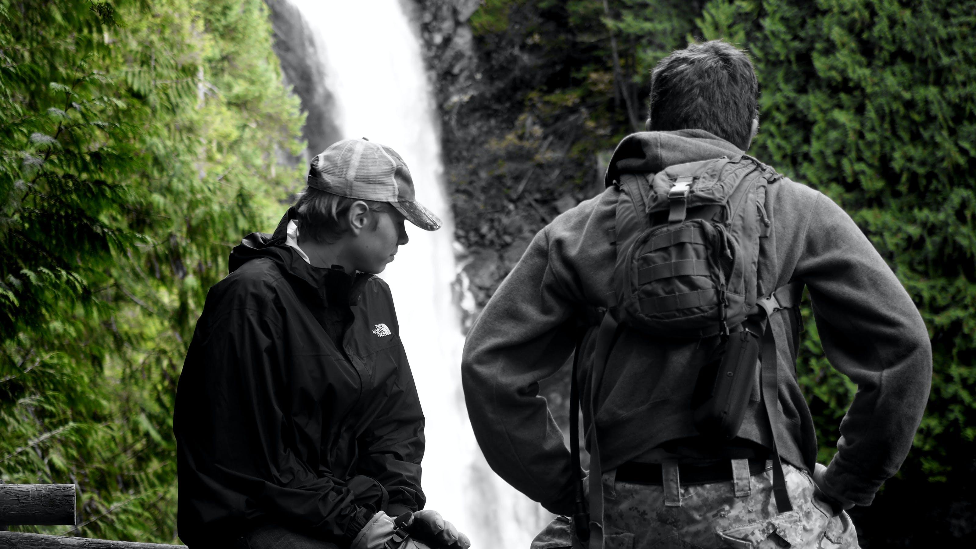 Free stock photo of bnw, boys, hike, mono