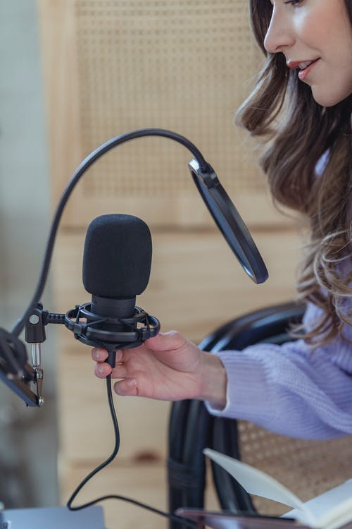 Side view of crop female blogger recording audio on mic while sitting in armchair with notepad
