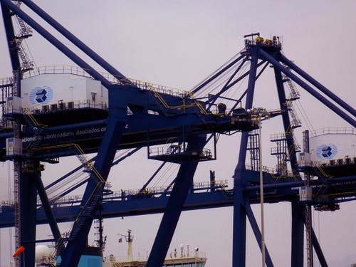 Free stock photo of blue, container, harbor