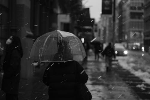 People walking on snowy street